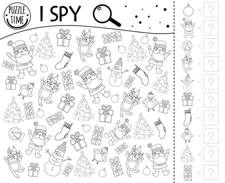 Christmas I spy game for kids. Searching and counting activity for preschool children with traditional New Year objects. Funny winter printable worksheet for kids. Simple holiday spotting puzzle. Illustration
