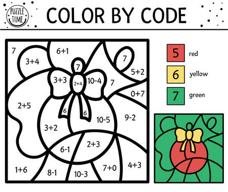 Vector Christmas color by number activity with colored ball. Simple winter holiday coloring and counting game with cute animal. Funny New Year color by code worksheet with math praxis for kids. 向量圖像
