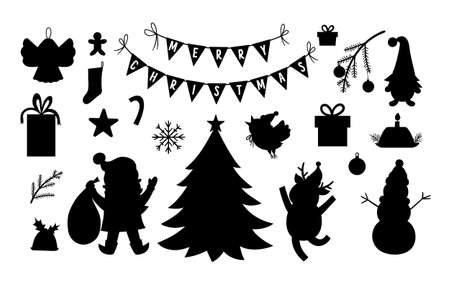 Vector set of black and white Christmas silhouettes with Santa Claus, deer, fir tree, presents isolated on white background. Cute funny winter icons illustration for decorations or new year design. Illustration