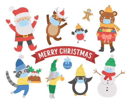 Cute vector animals, Santa Claus, snowman in hats, scarves and sweaters wearing medical face masks. Winter set of winter characters with COVID protection. Funny Christmas card designs. Ilustracja