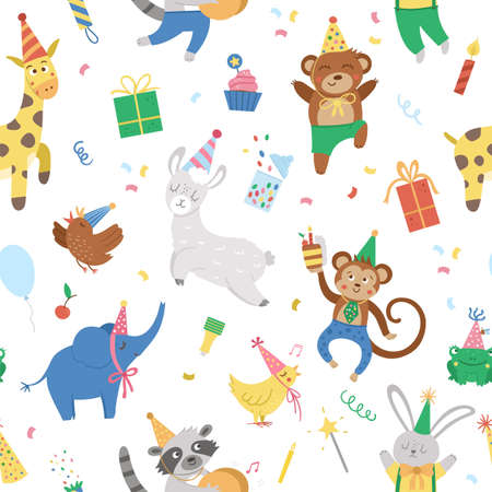 Vector seamless pattern with cheerful animals in party hats. Birthday party celebration repeating background. Vector holiday digital paper with bright present, cake with candles, balloon.
