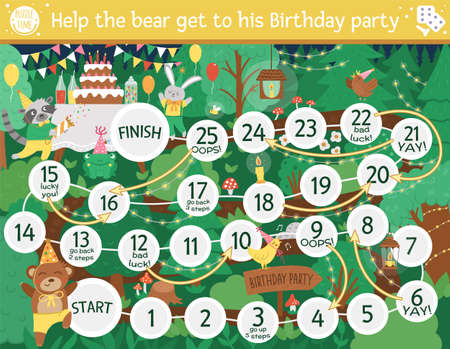 Birthday board game for children with cute woodland animals. Educational holiday boardgame with bear, hare, raccoon. Forest surprise party activity. Printable worksheet with cake and candles.