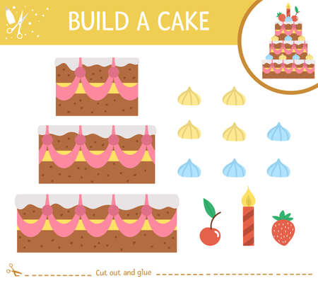 Vector Birthday party cut and glue activity. Holiday educational crafting game with cute dessert, candles and decorations. Fun activity for kids. Candy bar illustration. Build birthday cake