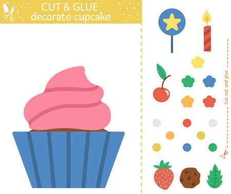Vector Birthday party cut and glue activity. Holiday educational crafting game with cute dessert and decorations. Fun activity for kids. Candy bar illustration. Decorate cupcake