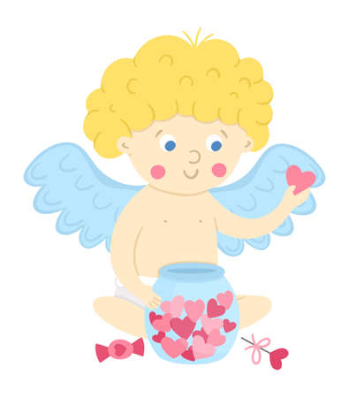 Vector cupid with jar of hearts. Funny Valentine's day character. Happy love angel with spread wings. Playful cherub icon isolated on white background.