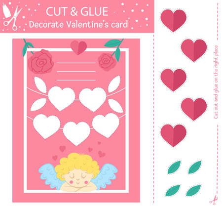 Vector Saint Valentine day cut and glue activity. Holiday educational crafting game with cute cupid and hearts. Fun activity for kids with love theme. Decorate Valentine's card.