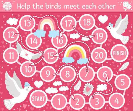 Saint Valentine day board game for children with cute doves. Educational holiday boardgame with bird, rainbow, heart. Romantic activity with love theme. Printable worksheet on pink background.