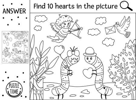 Vector Saint Valentine day black and white searching game with cute caterpillars in the garden. Find hidden hearts in the picture. Simple outline educational holiday printable activity for kids Ilustración de vector
