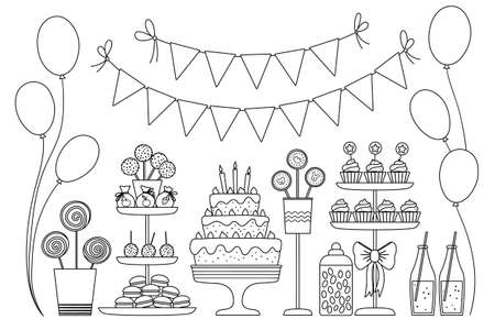 Vector black and white candy bar. Cute outline birthday meal with cake, candles, cupcakes, cake pops, jelly beans, flags. Funny dessert illustration for card, print design. Holiday line icons. Çizim