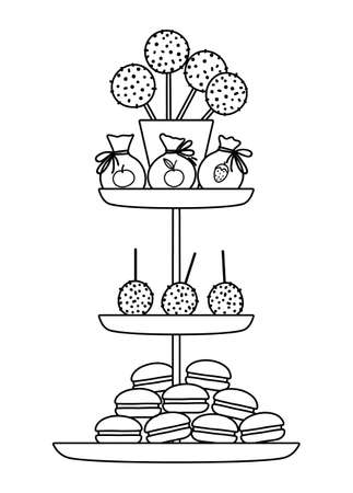 Vector black and white birthday desserts on layered stand. Cute outline funny celebration treat illustration. Bright holiday line icon for kids with cake pops, macaroons.