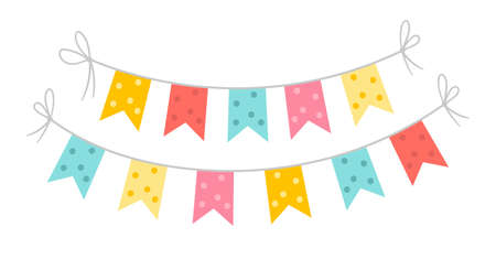 Vector rectangle flags for holidays decoration. Cute funny hanging carnival pennants illustration for card, invitation, banner design. Bright festival or fair garland isolated on white background.