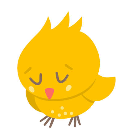 Vector funny chick icon. Spring, Easter or farm little bird illustration. Cute yellow sleeping chicken with closed eyes isolated on white background.