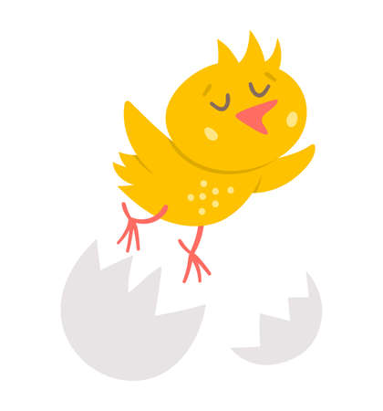 Vector funny chick icon. Spring, Easter or farm little bird illustration. Cute yellow just hatched chicken flying out of egg shell isolated on white background.