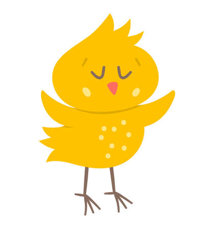 Vector funny chick icon. Spring, Easter or farm little bird illustration. Cute yellow chicken with closed eyes isolated on white background.