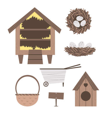 Vector cute farm and garden equipment collection. Roost, bird house, wheel barrow, basket, nest isolated on white background. Bird hatching and breeding icons pack.