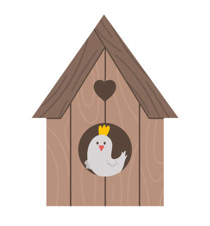 Vector starling-house with bird inside icon isolated on white background. Spring traditional symbol and design element. Cute wooden bird house illustration for kids
