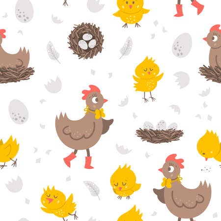 Vector seamless pattern with cute hen, little chicks, eggs, nest. Spring or Easter funny repeating background for kids. Farm bird digital paper