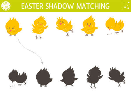 Easter shadow matching activity for children with chickens. Fun spring puzzle with cute farm birds. Holiday celebration educational game for kids. Find the correct silhouette printable worksheet.