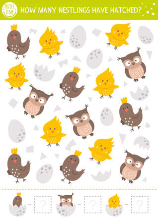 Easter counting game with cute little birds. Spring math activity for preschool children. Simple printable worksheet with funny owl, chick, egg. Educational puzzle for kids. How many nestlings hatched