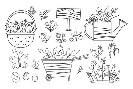 Vector cute black and white garden and Easter icons pack. Wheel barrow, watering can, eggs, first flowers and plants coloring page. Outline spring gardening tool illustration for kids Vector Illustration