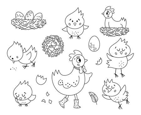 Vector black and white set with cute hen, little chicks, eggs, nest. Spring or Easter funny outline illustration or coloring page for kids. Farm bird icons pack