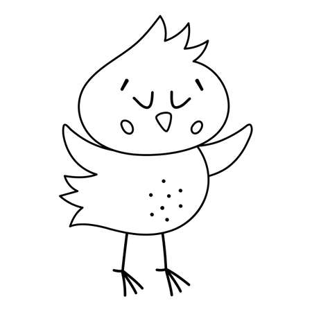 Vector black and white funny chick icon. Outline spring, Easter or farm little bird illustration or coloring page. Cute chicken with closed eyes isolated on white background