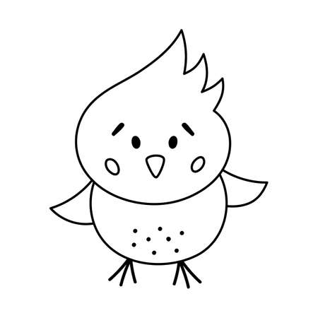 Vector black and white funny chick icon. Outline spring, Easter or farm little bird illustration or coloring page. Cute chicken isolated on white background