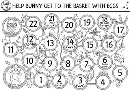Easter black and white dice board game for children with cute bunny and basket with eggs. Outline holiday boardgame with traditional symbols. Spring activity. Printable coloring page