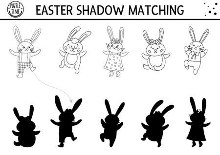 Easter black and white shadow matching activity for children with bunny family. Outline spring puzzle with cute animals. Holiday celebration educational game for kids. Find the correct silhouette