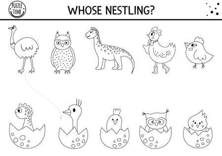 Easter black and white matching activity for children with birds and eggs. Fun outline spring puzzle with hatching nestlings and their moms. Holiday game, printable worksheet or coloring page for kids.