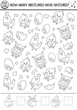 Easter black and white counting game with little birds. Outline spring math activity for preschool children. Simple printable worksheet with funny owl, chick, egg. How many nestlings hatched