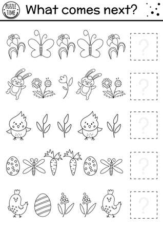 What comes next. Easter black and white matching activity for preschool children. Funny holiday puzzle. Outline logical worksheet. Continue the row. Simple spring game for kids