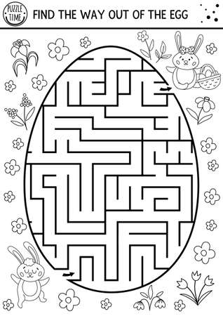 Easter black and white maze for children with cute bunnies in egg shape. Holiday outline preschool printable activity. Funny spring garden game or coloring page. Find the way out of the egg.