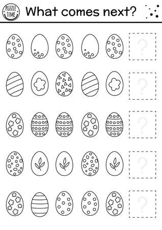 What comes next. Easter black and white matching activity for preschool children with eggs. Funny holiday puzzle. Outline logical worksheet. Continue the row. Simple spring game for kids