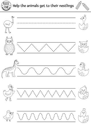 Vector Easter or mother day handwriting practice worksheet. Spring printable black and white activity for pre-school children. Tracing game for writing skills with cute animals and their babies