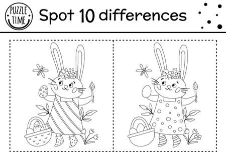 Easter find differences game for children. Holiday black and white educational activity and coloring page with funny bunny coloring egg. Spring seasonal printable worksheet with cute character.