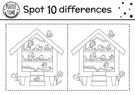 Easter find differences game for children. Holiday black and white educational activity and coloring page with funny roost with hen and chicks. Spring garden printable worksheet with cute characters.