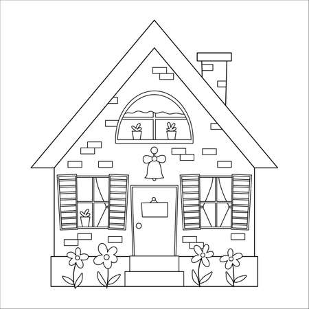 Vector black and white country house icon isolated on white background. Outline farm cottage illustration. Cute brick home with doorbell, plate, windows, curtains