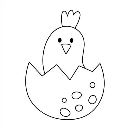 Vector black and white bird nestling icon. Little animal outline illustration. Cute line drawing of just hatched baby bird sitting in egg shell isolated on white background