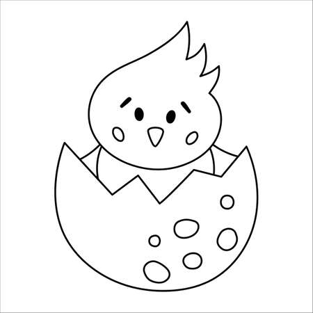 Vector black and white hen nestling icon. Little farm bird outline illustration. Cute line drawing of just hatched chicken sitting in egg shell isolated on white background
