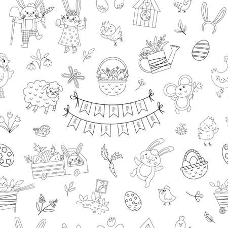 Black and white seamless pattern with Easter design elements. Vector repeating background with cute bunny, eggs, bird, chicks. Spring outline funny digital paper. Traditional holiday texture