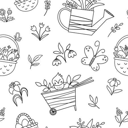 Vector cute black and white garden or Easter seamless pattern. Repeating background with wheel barrow, watering can, eggs, first flowers and plants. Outline spring digital paper for kids