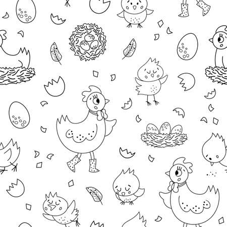 Vector seamless pattern with cute hen, little chicks, eggs, nest. Spring or Easter funny repeating background for kids. Farm bird digital paper Illustration