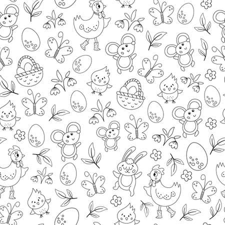 Vector black and white Easter characters seamless pattern. Spring repeating background. Cute outline animal digital paper for kids. Funny texture with chick, hen, butterfly, egg, flowers Illustration