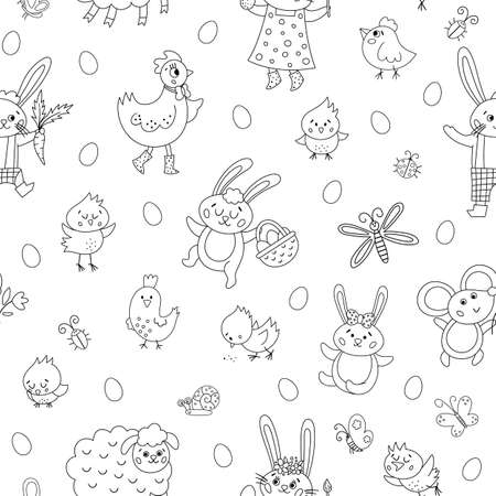 Vector black and white Easter characters seamless pattern. Spring birds and insects repeating background. Cute outline animal digital paper for kids. Funny bunny family, chicks texture