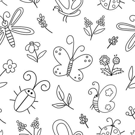 Vector black and white insect and first flower seamless pattern. Funny spring garden repeating background. Cute outline ladybug, butterfly, beetle, dandelion digital paper for kids