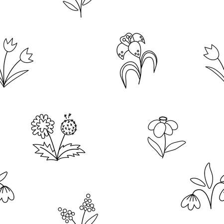 Vector cute black and white spring flowers seamless pattern. Repeating background with first blooming plants. Outline floral digital paper. Tulips, dandelion, snowdrop, narcissus, lily texture Illustration
