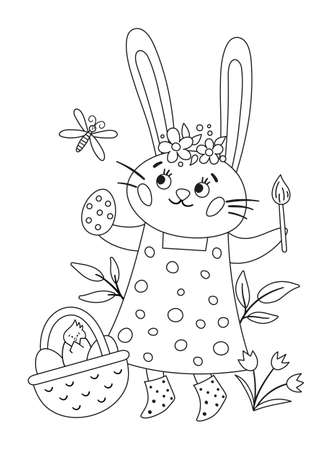 Vector black and white Easter bunny icon. Rabbit girl in dress with brush, egg, basket, dragonfly isolated on white background. Cute animal for kids. Funny outline spring hare picture.