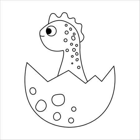 Vector black and white dinosaur nestling icon. Little baby dino outline illustration. Cute line drawing of just hatched animal sitting in egg shell isolated on white background.