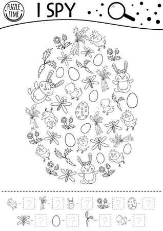 Easter black and white I spy game for kids. Searching and counting activity for preschool children with traditional holiday objects framed in egg shape. Funny spring line printable worksheet Illustration